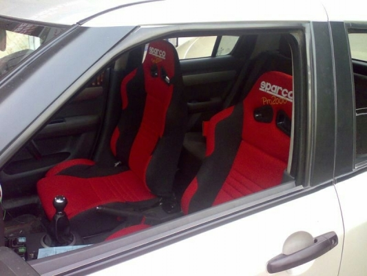 SPARCO RACING SEAT BLACK & RED (FIXED) PAIR